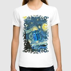 Flying Tardis Doctor Who… Womens Fitted Tee White SMALL