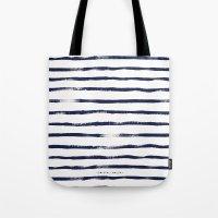 Thin Brush Stripe Indigo Tote Bag