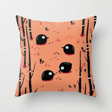 Black Birds in the Forest Throw Pillow