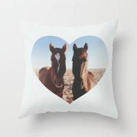 Horse Friends Throw Pillow