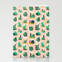 Terrariums - Cute little planters for succulents in repeat pattern by Andrea Lauren Stationery Cards
