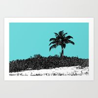 Palm Tree - Turquoise Art Print