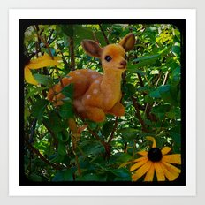 Deer and Black-eyed Susans Art Print