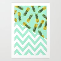 blue pineapple chevron Art Print