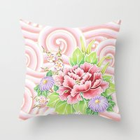Pink Kimono Bouquet Throw Pillow