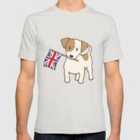 Jack Russell Terrier and Union Jack Illustration Mens Fitted Tee Silver SMALL