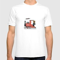 Groovy Train Mens Fitted Tee White SMALL