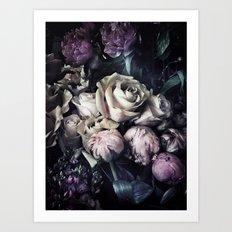 Roses peonies vintage style old masters flowers blooms Art Print
