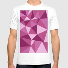 Pink Geometric SMALL Mens Fitted Tee White