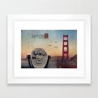 GOLDEN GATE RAIN Framed Art Print