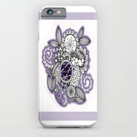 iPhone Cases featuring Pretty in Purple Zentangle Design Illustration by Vermont Greetings