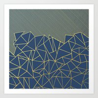 Ab Lines 45 Navy and Gold Art Print
