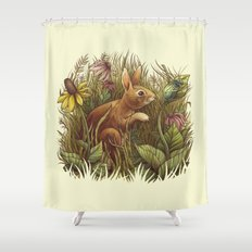 The Cottontail and the Katydid Shower Curtain