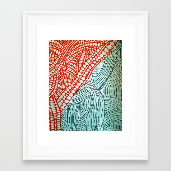 """Hand Drawn """"Orange Stones"""" Doodle Framed Art Print"""