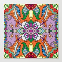 Colorful Boho Floral Pattern Canvas Print