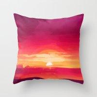 A Panoramic Sunset Throw Pillow