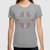 Hand Drawn Floral Wreath Design Womens Fitted Tee Tri-Grey SMALL