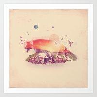 Woodlands Fox Art Print