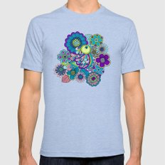 Welcome birds to  my garden. blue Mens Fitted Tee Tri-Blue SMALL