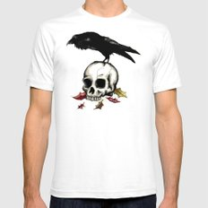 Raven Skull Poe Gothic Crow Mens Fitted Tee White SMALL