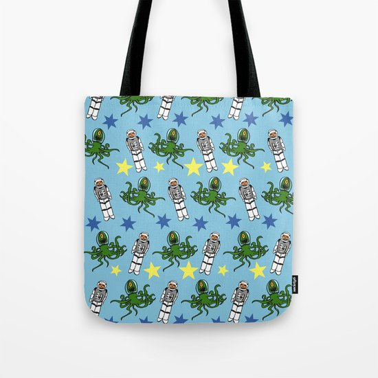 Aliens & Astronauts pattern Tote Bag