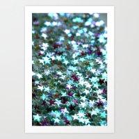 Stars in Teal Art Print