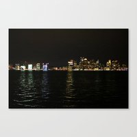 Boston Night Skyline  Canvas Print