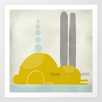 YELLOW RABBIT Art Print