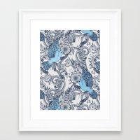 Flight of Fancy - navy, blue, grey Framed Art Print