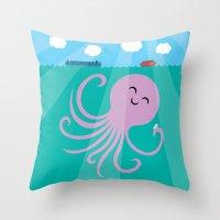 Throw Pillow featuring Octopus Selfie by Mouki K. Butt