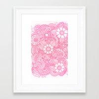 Henna Design - Pink Framed Art Print