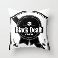 Black Death Ribbon Throw Pillow