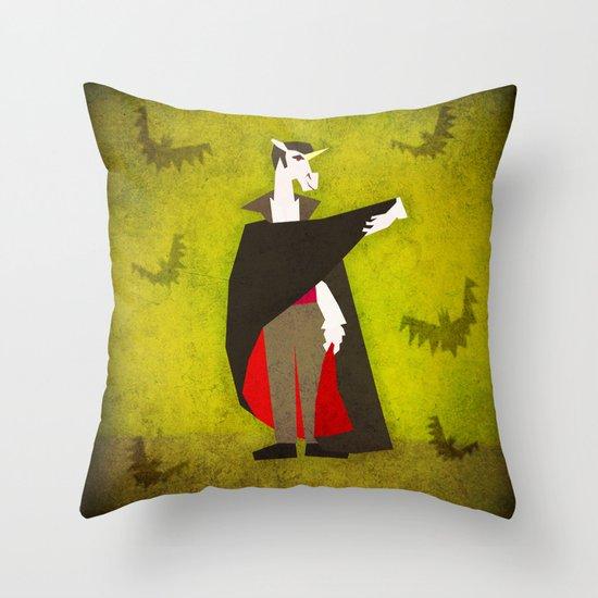 Dracula Unicorn Throw Pillow