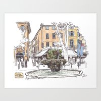 Fountain At Cours Mirabe… Art Print