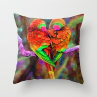 Love Birds - Painting Style Throw Pillow