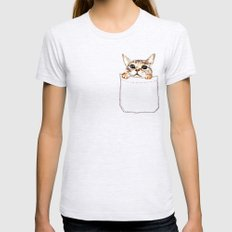 Pocket cat Womens Fitted Tee Ash Grey SMALL