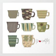 I {❤} Coffee Art Print