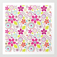 Inky Floral Art Print