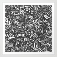 Typography Pattern Art Print