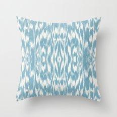 Ikat: Light Blue Ivory Throw Pillow