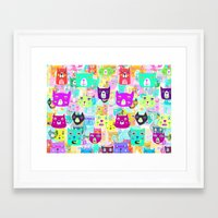 The Rocking Rainbow Cats Framed Art Print