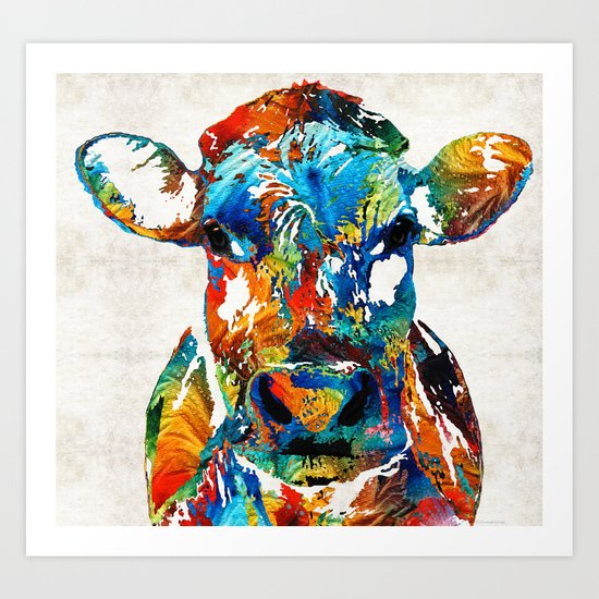 Colorful Cow Art Mootown By Sharon Cummings Art Print