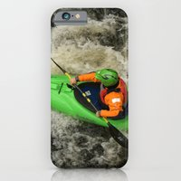 iPhone & iPod Case featuring Green Kayak Paddling by Serenity Photography