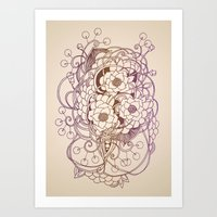 Flowernest zentangle Art Print