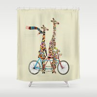 giraffe days lets tandem Shower Curtain
