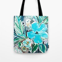 BLUE HAWAII HIBISCUS Tote Bag