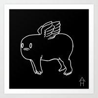 Cherub in Black Art Print