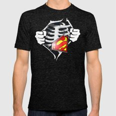 Skeleton Rib Cage With Superman Tag Mens Fitted Tee Tri-Black SMALL