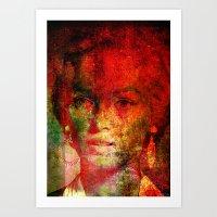 Marilyne behind the mirror Art Print