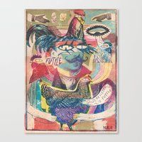 psychedelic chicken farmer Canvas Print